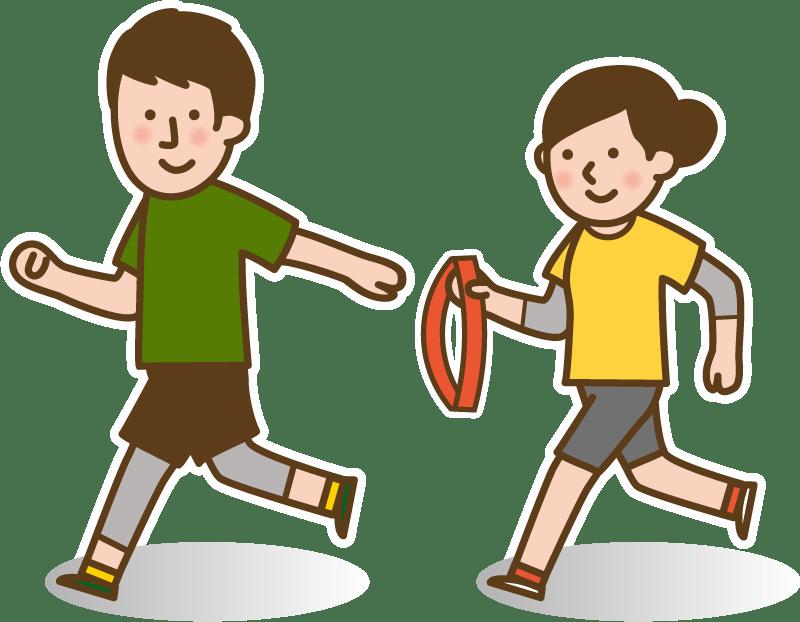 イラスト:リレーマラソンをする人